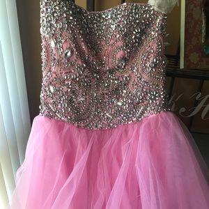Sherri Hill Baby Pink Beaded Dress